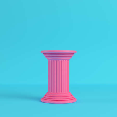 Pink ancient pillar on bright blue background in pastel colors. Minimalism concept. 3d render Stock Photo