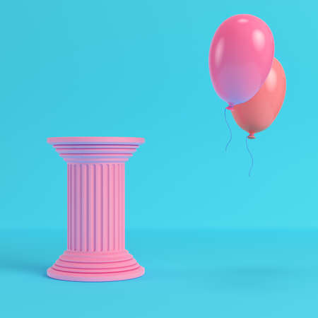 Pink ancient pillar with two flying balloons on bright blue background in pastel colors. Minimalism concept. 3d render