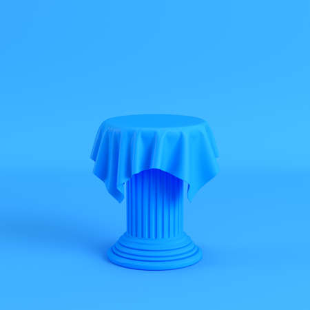 Cloth on a pedestal on bright blue background. Minimalism concept. 3d render Banque d'images