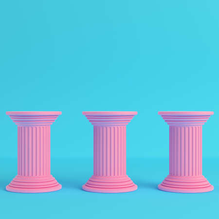 Three ancient pillars on bright blue background in pastel colors. Minimalism concept. 3d render Фото со стока