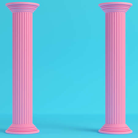Two pink ancient pillars on bright blue background in pastel colors. Minimalism concept. 3d render