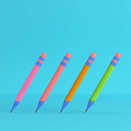 Pencils with eraser on bright blue background in pastel colors. Minimalism concept. 3d render