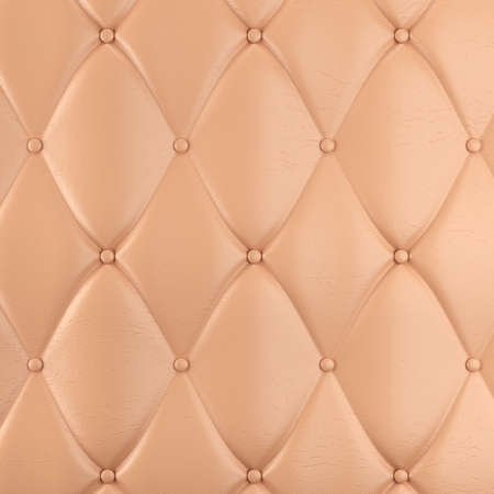 Stitched upholstery leather bright background with buttons. 3d rendering