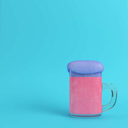 Mug of pink beer with blue foam on bright blue background in pastel colors. Minimalism concept. 3d render Stock Photo