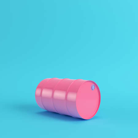 Pink oil barrel on bright blue background in pastel colors. Minimalism concept. 3d render Stockfoto