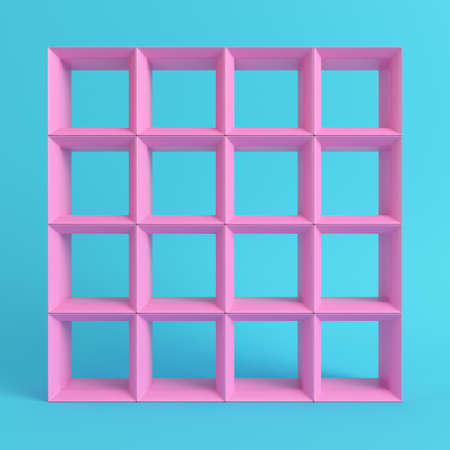 Empty square shelfs on bright blue background in pastel colors. 3d rendering