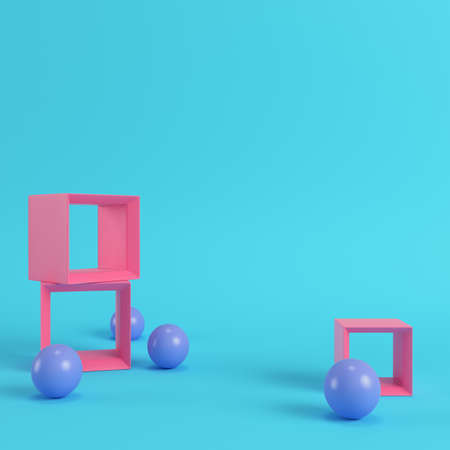 Empty display stands with spheres on bright blue background in pastel colors with copy space. 3d rendering Фото со стока