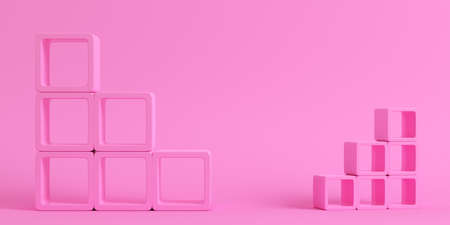 Empty square shelfs on bright pink background in pastel colors. 3d rendering