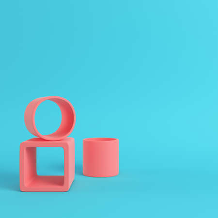 Empty display stand on bright blue background in pastel colors with copy space. 3d rendering