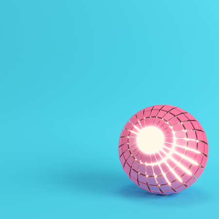 Abstract segmented pink sphere glowing inside on bright blue background in pastel colors with copy space. 3d rendering