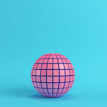Abstract segmented pink sphere on bright blue background in pastel colors with copy space. 3d rendering Stock Photo