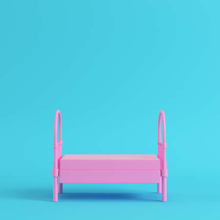 Pink single bed on bright blue background in pastel colors. Minimalism concept. 3d render