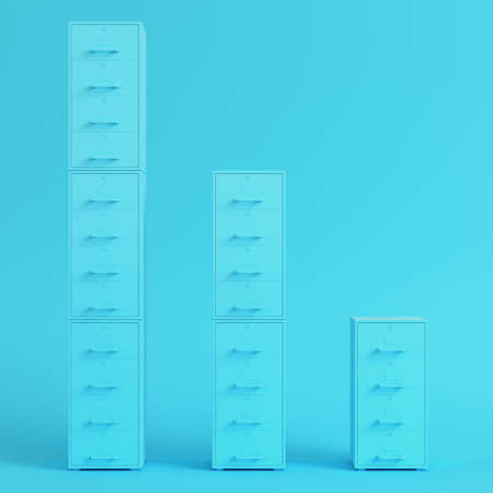 Blue filing cabinets on bright blue background in pastel colors. Minimalism concept. 3d render