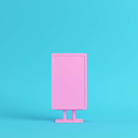 Pink blank advertising billboard on bright blue background in pastel colors. Minimalism concept. 3d render