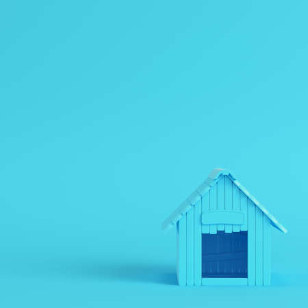 Doghouse on bright blue background in pastel colors. Minimalism concept. 3d render