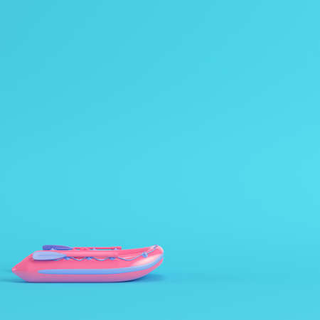 Pink inflatable boat on bright blue background in pastel colors. Minimalism concept. 3d render