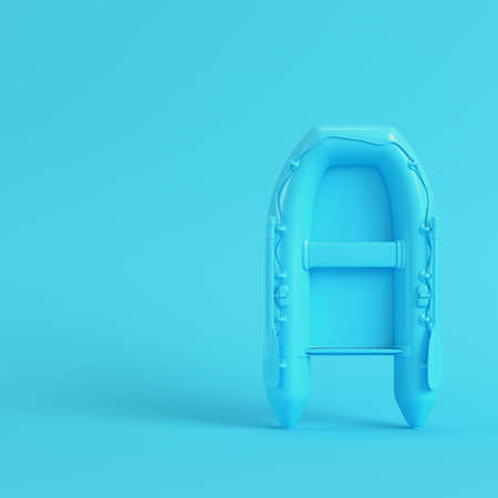 Inflatable boat on bright blue background in pastel colors. Minimalism concept. 3d render