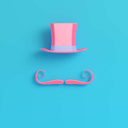 Pink cylinder hat with fake mustache on bright blue background in pastel colors. Minimalism concept. 3d render Stock Photo