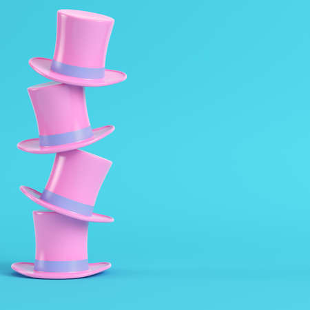 Pink top hats on bright blue background in pastel colors. Minimalism concept. 3d render