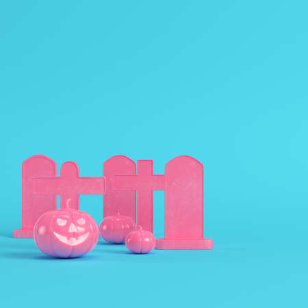 Pink halloween pumpkins with crosses and gravestones on bright blue background in pastel colors. Minimalism concept. 3d render