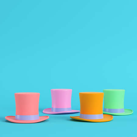 Four colorful top hats on bright blue background in pastel colors. Minimalism concept. 3d render