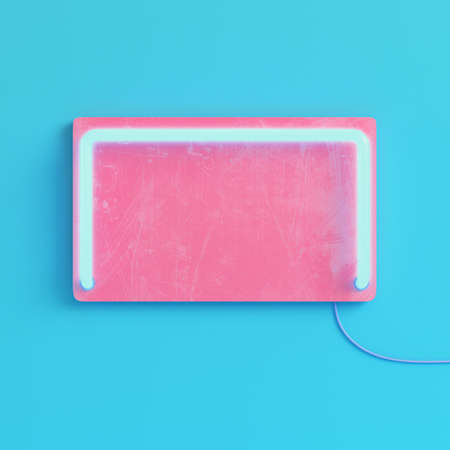 Pink blank plate with neon light on bright blue background in pastel colors. Minimalism concept. 3d render