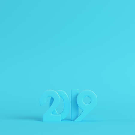 Blank new year 2019 figures on bright blue background in pastel colors. Minimalism concept. 3d render Stock Photo