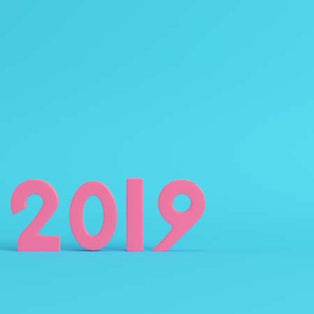 Pink new year 2019 figures on bright blue background in pastel colors. Minimalism concept. 3d render