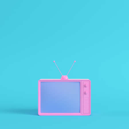 Pink retro styled tv on bright blue background in pastel colors. Minimalism concept. 3d render