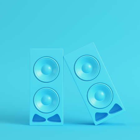Stereo speakers on bright blue background in pastel colors. Minimalism concept. 3d render