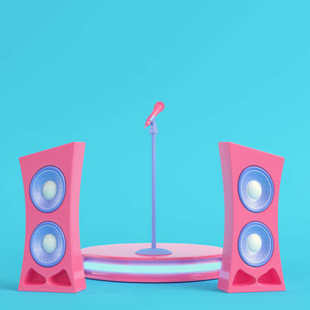 Concert stage with microphone and speakers on bright blue background in pastel colors. Minimalism concept. 3d render
