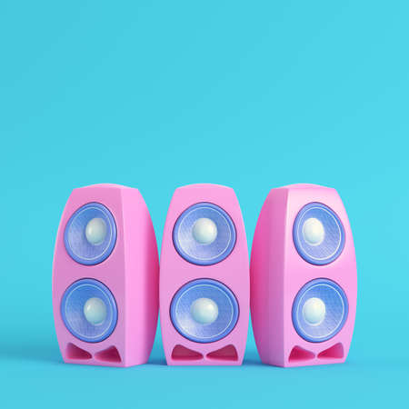 Pink cartoon-styled speaker on bright blue background in pastel colors. Minimalism concept. 3d render Stock Photo