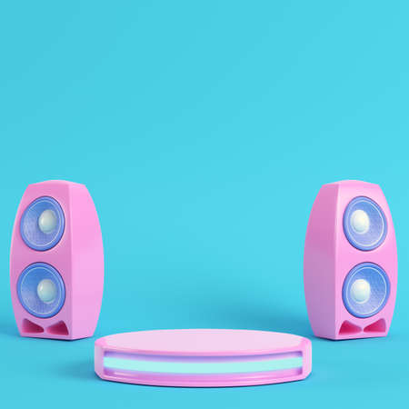 Concert stage with and speakers on bright blue background in pastel colors. Minimalism concept. 3d render