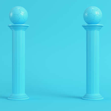 Columns with soccer ball on bright blue background in pastel colors. Minimalism concept. 3d render Stock Photo