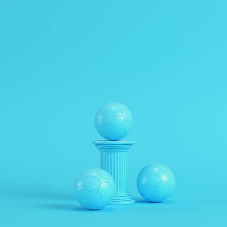 Column with soccer ball on bright blue background in pastel colors. Minimalism concept. 3d render