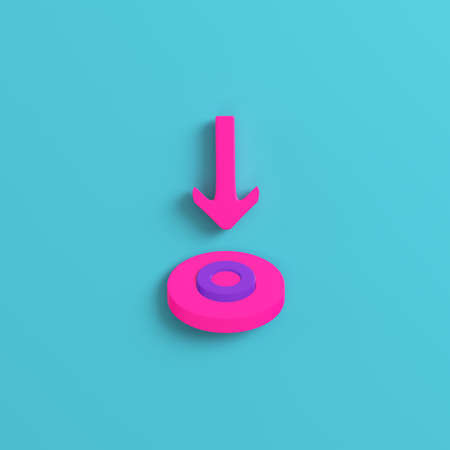 Pink arrow pointing target on bright blue background.