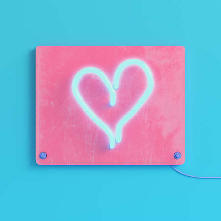 Pink blank plate with heart shape neon light on bright blue background in pastel colors.
