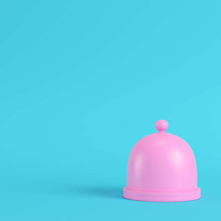 Pink plate with dome on bright blue background in pastel colors. Stock Photo
