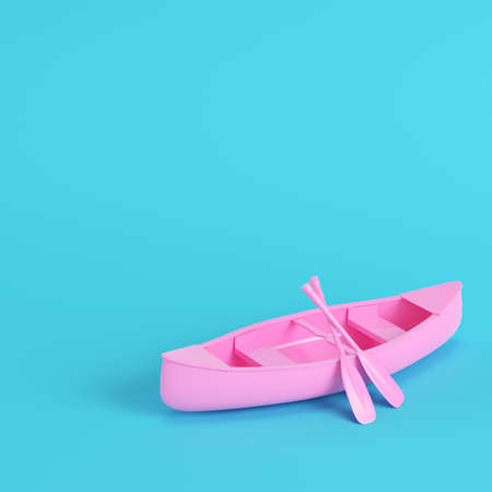 Pink canoe with paddles on bright blue background in pastel colors. Minimalism concept. 3d render