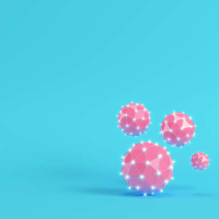 187aca39 Pink low poly abstract glowing spheres on bright blue background in pastel  colors. Minimalism concept