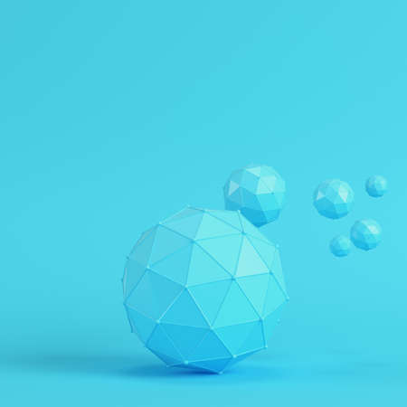 611f5f75 Low poly abstract spheres on bright blue background in pastel colors.  Minimalism concept. 3d