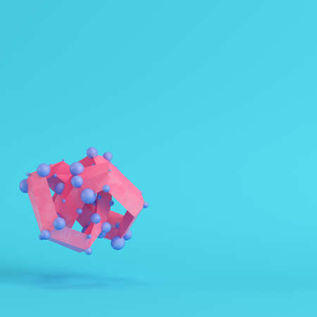 Pink abstract low poly shape on bright blue background in pastel colors. Minimalism concept. 3d render