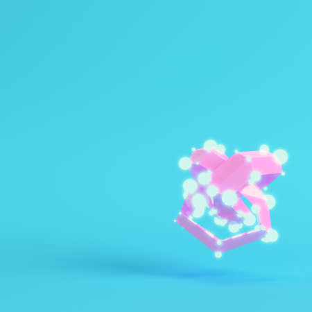 Abstract low poly shape with glowing spheres on bright blue background in pastel colors. Minimalism concept. 3d render
