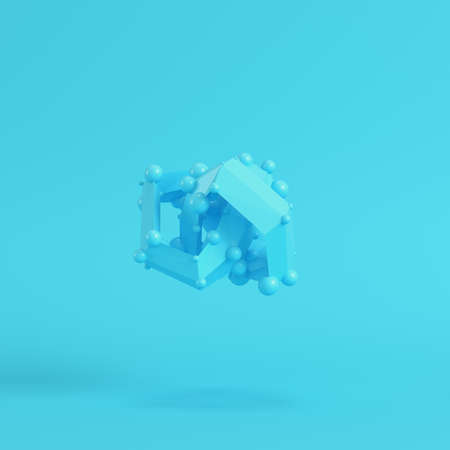 Abstract low poly shapeon bright blue background in pastel colors. Minimalism concept. 3d render Imagens
