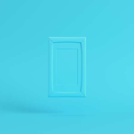 Blank frame on bright blue background in pastel colors. Minimalism concept. 3d render