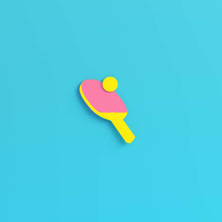 Yellow table tennis racket with ball on bright blue background in pastel colors. Minimalism concept. 3d render