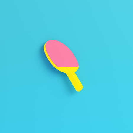 Yellow table tennisacket on bright blue background in pastel colors. Minimalism concept. 3d render Imagens
