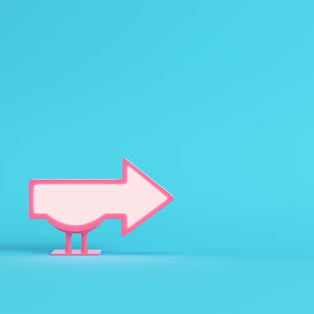 Billboard in arrow shape on bright blue background in pastel colors. Minimalism concept. 3d render