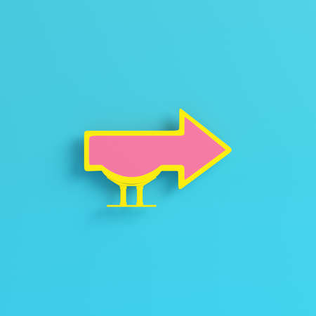 Yellow billboard in arrow shape on bright blue background in pastel colors. Minimalism concept. 3d render