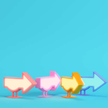 Four colorful billboards in arrow shape on bright blue background in pastel colors. Minimalism concept. 3d render